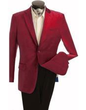 Velour Mens blazer Jacket Mens Fashion 2 Button Velvet Winish Burgundy ~