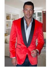 Coat Jacket Mens Red Shawl Collar velour Mens blazer Jacket For Men