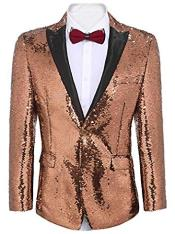 Gold ~ Pinkish Sequin Shiny Mens Blazer