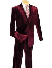 Mens 3 Piece Wine Two Button Velvet Vested Suits Pre order