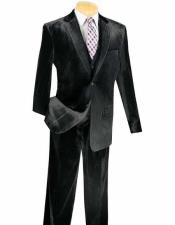Notch Lapel Single Breasted 3 Piece Black Velvet Vested velour Mens