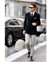 Black Stylish Casual Tailored Double Breast Velvet velour Mens blazer Jacket