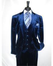 Mens Dark Navy velour Mens blazer Jacket 2 Button Velvet Fabric 3