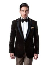 Mens Brown Velvet velour Mens blazer Jacket Tuxedo Looking Sport Coat