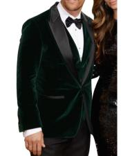 Mens Olive Side Vents Velvet Fabric Fully Lined Jacket