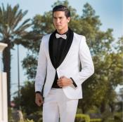 Breasted Two Toned Tuxedo White & Black Velvet Lapel Shawl Lapel