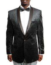 Black Velvet Fashion Tuxedo with Satin Shawl Lapel 100% Wool velour