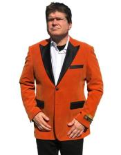 Nardoni Brand Orange Velvet Tuxedo velour Mens blazer Jacket Sport Coat Jacket Available Big Size