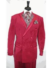 Paisley Double Breasted Burgundy ~ Wine ~ Maroon Color Velvet Suit