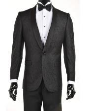 Mens Black Velvet Paisley Suit Jacket velour Mens blazer Jacket Sport Coat