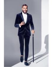 Nardoni Dark Navy Blue and Black Velvet Tuxedo Suit velour Mens