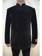 Mens Eight Button Mandarin Banded Collar Black Velvet Fabric Suits velour Mens blazer Jacket