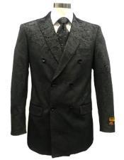 Mens Double Breasted Velvet Fabric Paisley Pattern Black velour Mens blazer Jacket