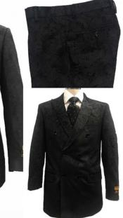 Alberto Nardoni Black Paisly Paisley Double Breasted Velvet Suit velour Mens