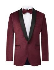 Mens Burgundy Velvet 2 Piece Tuxedo Regular Fit Contrast Shawl Lapel