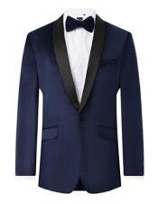 Mens Navy Velvet 2 Piece Tuxedo Regular Fit Contrast Shawl Lapel