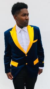 Blue and Goldish Yellowish Lapel Velvet velour Mens blazer Jacket With