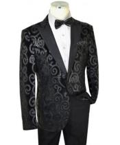 Black Sequined Velvet / Satin Modern slim fit cut velour Mens