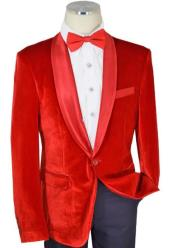 Solid Red Velvet / Satin Shawl Collar Modern slim fit cut
