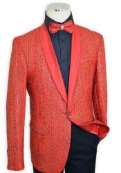 Red / Metallic Gold Embroidered Satin Classic Slim Fit Cut velour