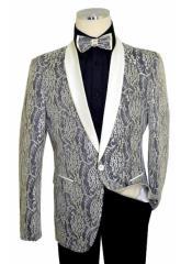 Off-White / Black / Metallic Gold Laced Satin Classic Slim FiCut velour Mens blazer Jacket / Bow