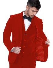Red Color Single Breasted Peak Lapel Velvet Vested Suit Pre Order