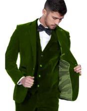 Velour Mens blazer Jacket Mens Dark Green Color Peak Lapel Velvet Vested