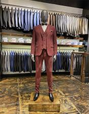Single Breasted Notch Lapel Velvet Suit Perfect for Wedding Burgundy Suit