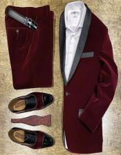 Velvet Suit Mens Burgundy Two Button Perfect for Prom Outfit Velvet Burgundy