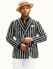 Mens Black-White Pinstripe Double Breasted Blazer