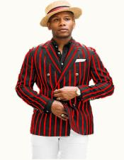 Mens Black/Red Pinstripe Blazer With Brass Buttons Blazer