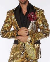 Edition Pre order Feb/30/2020 Mens Sequin Suits Gold/Silver Perfect For Stage Tuxedos For Prom / Wedding