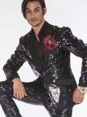Mens Black Sequin Suits