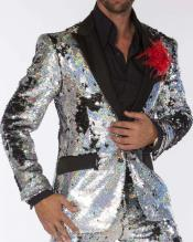 Edition Pre order Feb/30/2020 Mens Sequin Suits Silver Perfect For Stage Tuxedos For Prom / Wedding