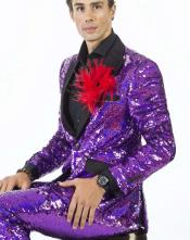 Mens Front Slip Pocket Sequin Suits Violet Perfect For Stage