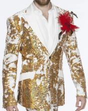 Mens Double Vent Sequin Suits Gold Perfect For Stage Tuxedos