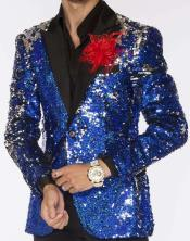 Mens Two Button Sequin Suits Blue Perfect For Stage Tuxedos