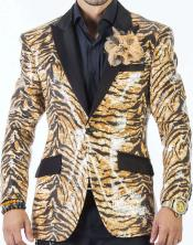 Mens Tiger Pattern Sequin Suits Black/Multi Colors Perfect For Stage