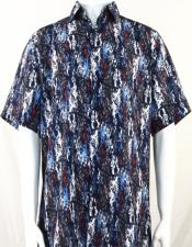 Blue & Red Splash Pattern Short Sleeve Camp Shirt 5028