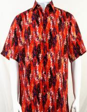 Bassiri Orange and Black Splash Pattern Short Sleeve Camp Shirt 5027