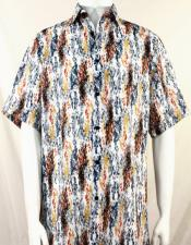 Bassiri Orange and Gold Splash Pattern Short Sleeve Camp Shirt 5024