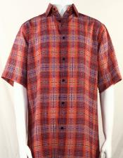 Bassiri Red Artistic Plaid Design Short Sleeve Camp Shirt 5018