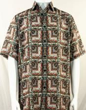 Brown & Rust Abstract Squares Short Sleeve Camp Shirt 5016