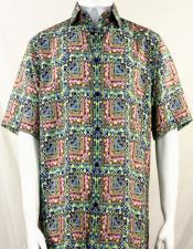 Bassiri Green & Pink Abstract Squares Short Sleeve Camp Shirt 5015