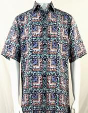 Bassiri Green & Blue Abstract Squares Short Sleeve Camp Shirt 5014