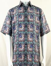 Bassiri Green & Blue Abstract Squares Short Sleeve Camp Shirt 5014