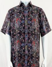 Bassiri Black & Red Festive Design Short Sleeve Camp Shirt 5011