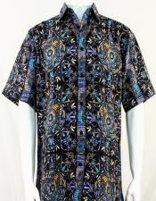 Bassiri Black & Blue Festive Design Short Sleeve Camp Shirt 5010