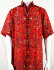 Bassiri Red Festive Design Short Sleeve Camp Shirt 5008