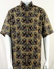 Bassiri Brown Greek Key Design Short Sleeve Camp Shirt 5004